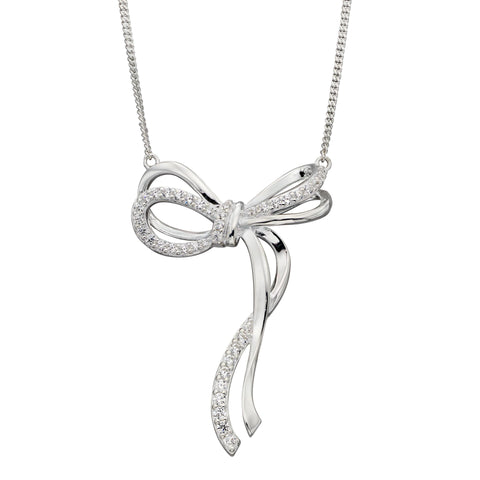Cubic zirconia bow necklace in silver