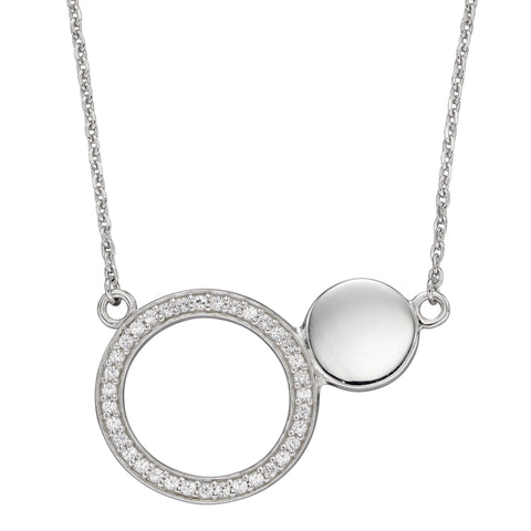 Cubic zirconia open circle necklace in silver