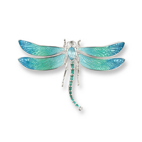 Dragonfly brooch/pendant with blue topaz and white sapphire in silver