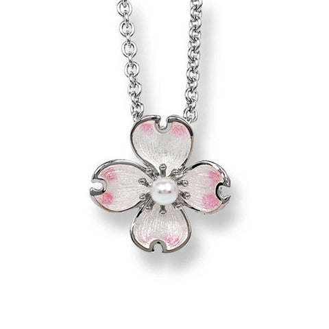 Neckwear - Dogwood flower pendant and chain with enamel and pearl in silver  - PA Jewellery