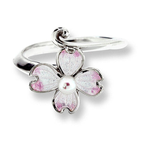 Ring - Dogwood flower ring with enamel and pearl in silver  - PA Jewellery