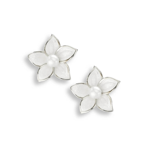 Stephanotis flower stud earrings with freshwater pearl in silver