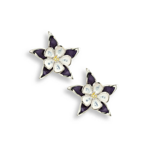 Columbine flower stud earrings in silver