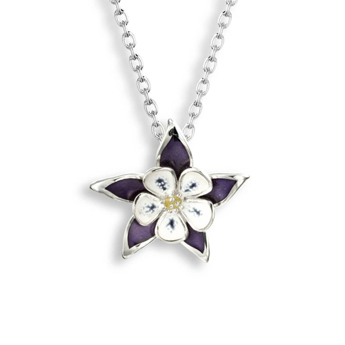 Columbine flower pendant and chain in silver