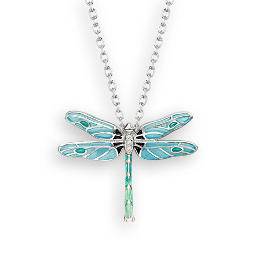 Dragonfly pendant and chain with white sapphire in silver