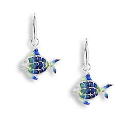 Enamel and white sapphire angelfish drop earrings in silver