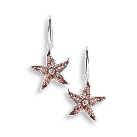 Starfish drop earrings with white sapphires in silver