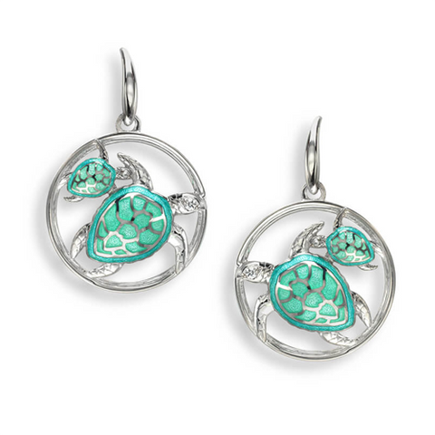 Turtle drop earrings with white sapphire in silver