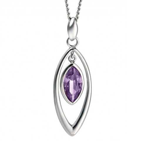 Neckwear - Purple cubic zirconia marquise pendant and chain in silver  - PA Jewellery