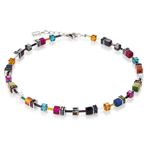 Neckwear - Dark multi-colour cube necklace - 2838/10-1538  - PA Jewellery