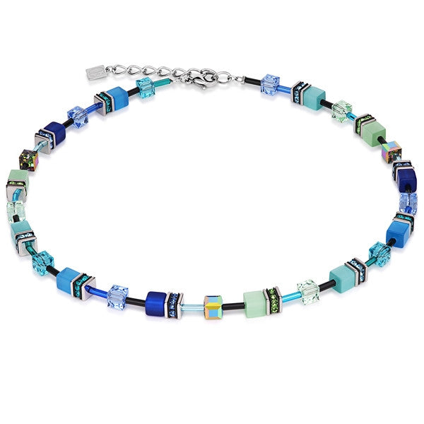 Neckwear - Blue and green cube necklace - 2838/10-0705  - PA Jewellery