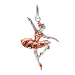 Ballerina pendant in silver with rose gold plating