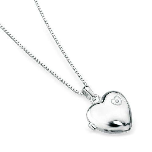 Diamond set locket and chain in silver