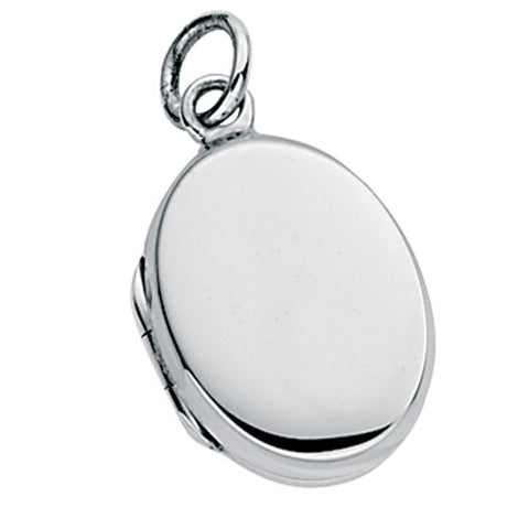 Engravable oval locket and chain in silver