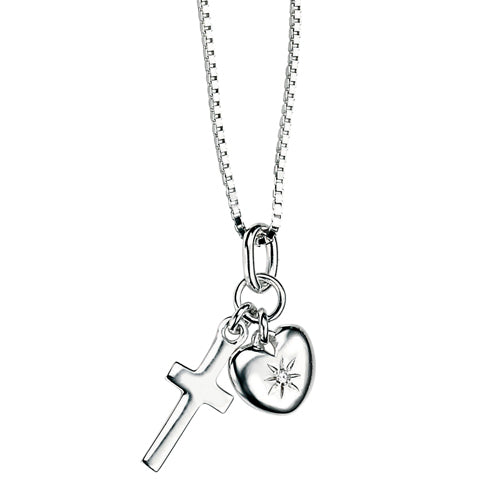 Diamond set heart and cross pendant and chain in silver