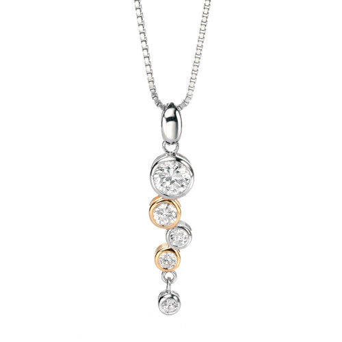 Neckwear - Cubic zirconia bubble pendant and chain in silver with gold plating  - PA Jewellery