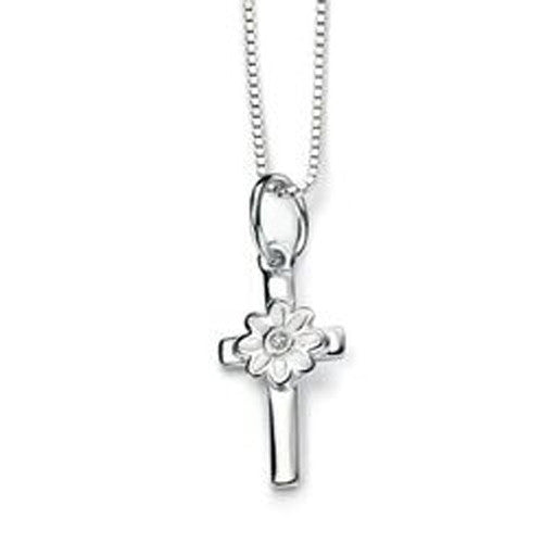 Diamond set flower cross pendant and chain in silver