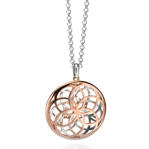 Cut-out detail circle pendant and chain in silver with rose gold plating