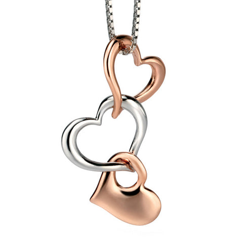Neckwear - Multi heart pendant in silver with rose gold plate  - PA Jewellery