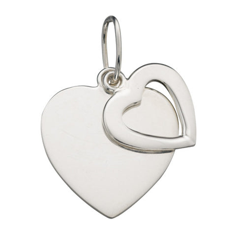 Double heart pendant and chain in silver