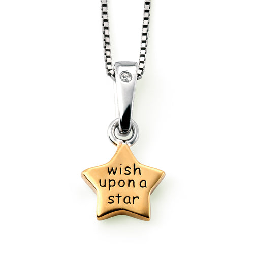 Diamond set 'wish upon a star' pendant and chain in silver with gold plating
