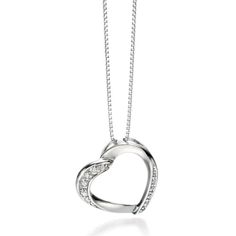 Cubic zirconia heart pendant and chain in silver