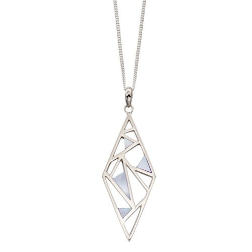 Mother-of-pearl inlay pendant and chain in silver