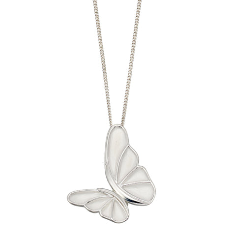 Butterfly pendant and chain in silver