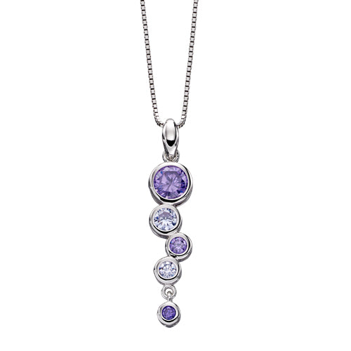 Purple cubic zirconia bubble pendant and chain in silver