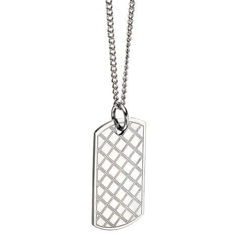 Hatched detail dog tag pendant and chain in stainless steel