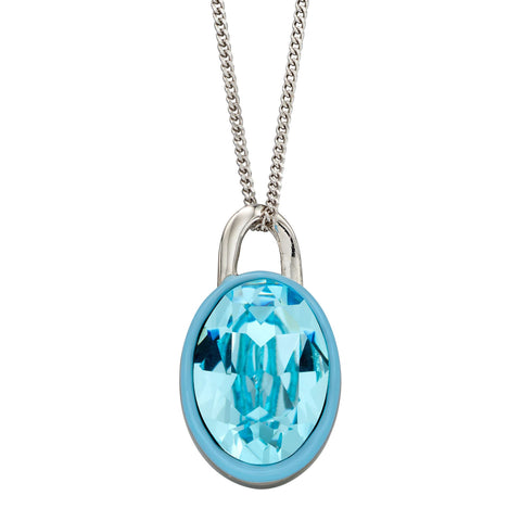 Aqua crystal and enamel pendant and chain in silver
