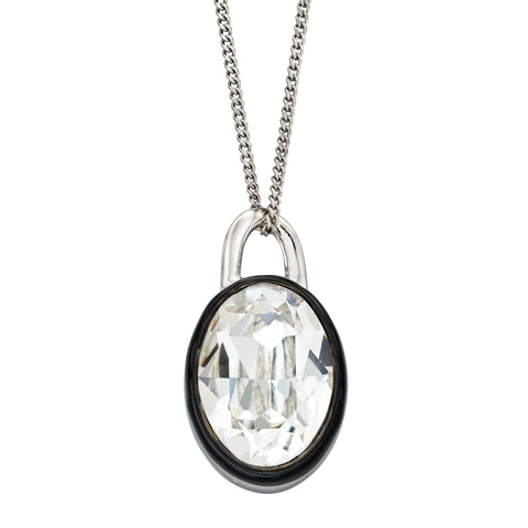 Monochrome crystal and enamel pendant and chain in silver