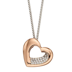 Cubic zirconia heart pendant and chain in silver with rose gold plating