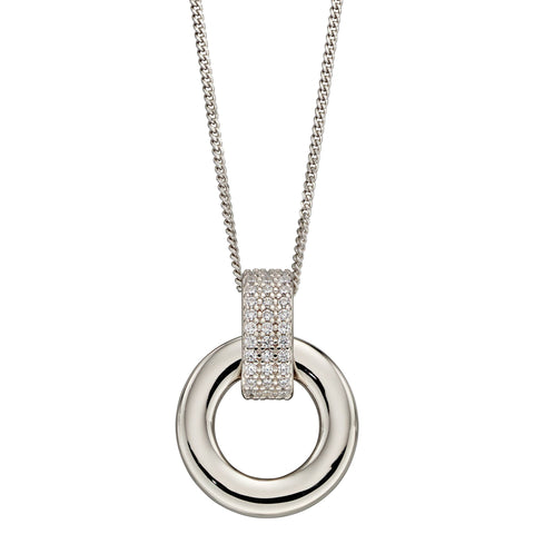 Cubic zirconia circle pendant and chain in silver