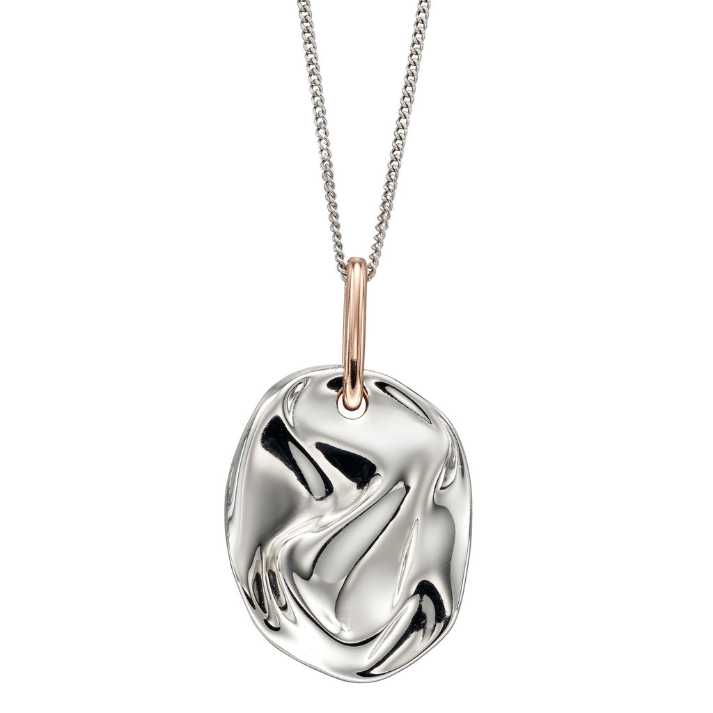 'Crinkle' pendant and chain in silver with rose gold-plating