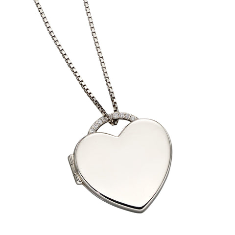 Cubic zirconia heart shape locket and chain in silver