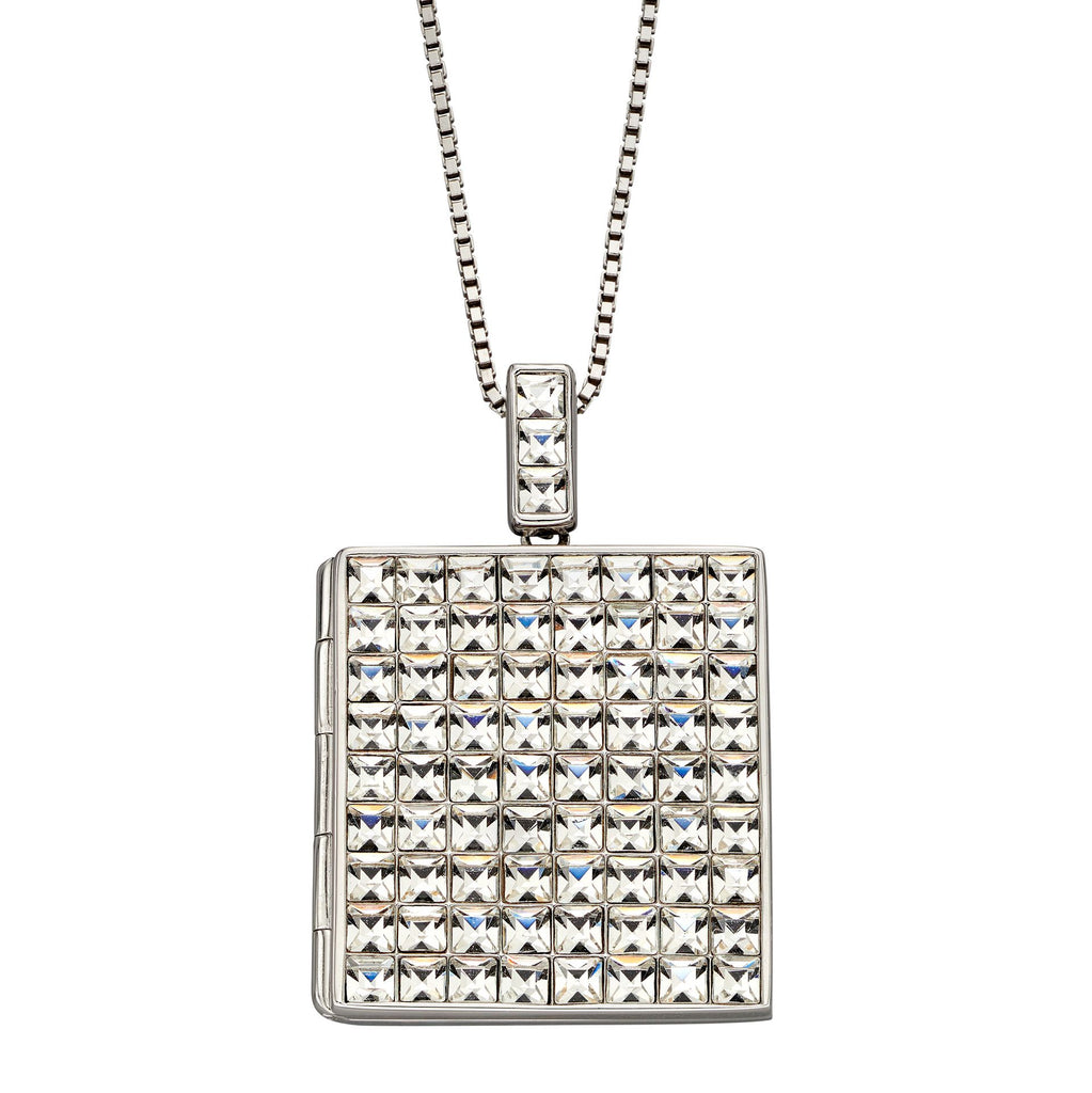 Crystal set square locket and chain in silver