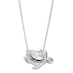 Turtle pendant and chain in silver