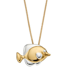 Fish pendant and chain in silver with gold plating