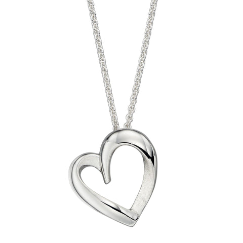 Open heart pendant and chain in silver