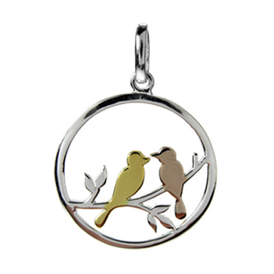 Birds on a branch circular pendant in silver with gold plating