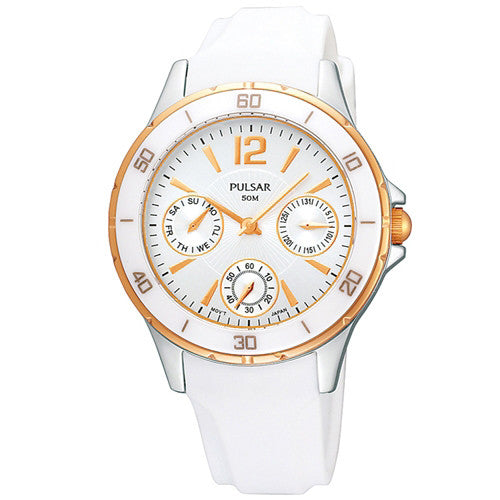 Watch - Ladies' Pulsar in two tone stainless steel on rubber PP6022  - PA Jewellery