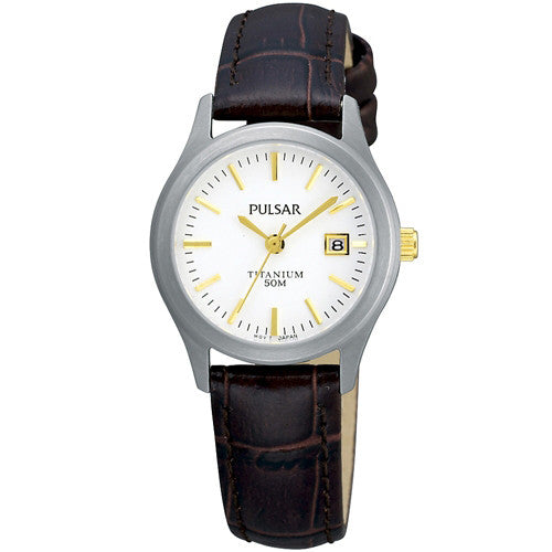 Watch - Ladies' Pulsar in titanium on leather PXT921  - PA Jewellery