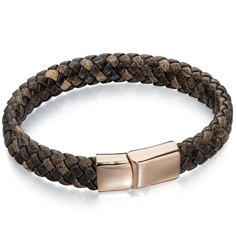 Brown plaited leather with rose gold-plted steel clasp