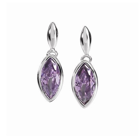 Earrings - Purple cubic zirconia marquise shape drop earrings in silver  - PA Jewellery