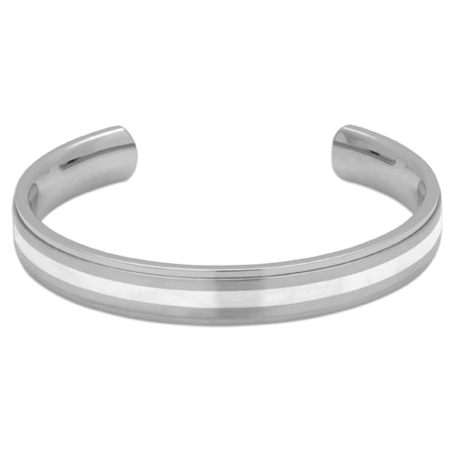 Torque bangle in stainless steel with silver inlay