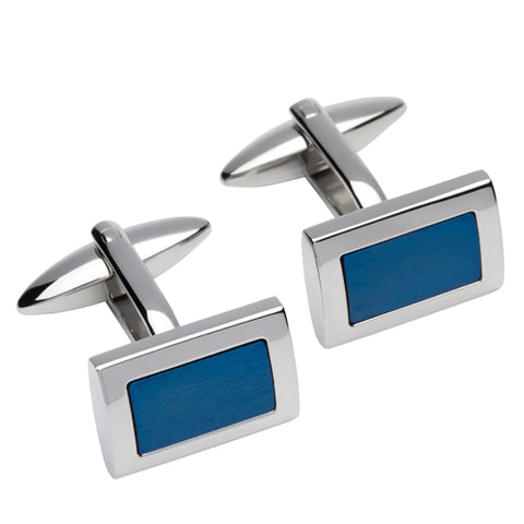 Rectangular cufflinks in stainless steel with blue IP plating