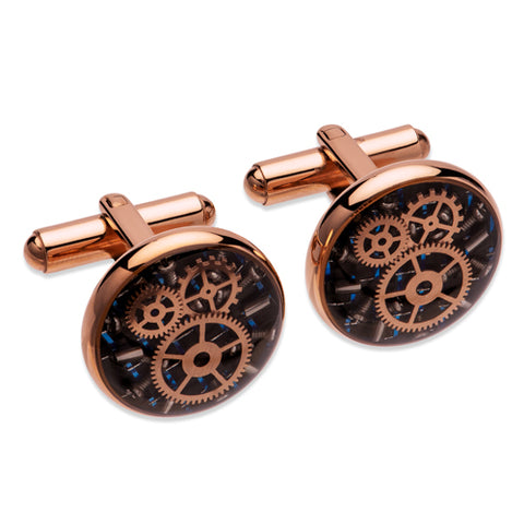 Carbon fibre and cog detail round cufflinks in stainless steel with rose IP plating