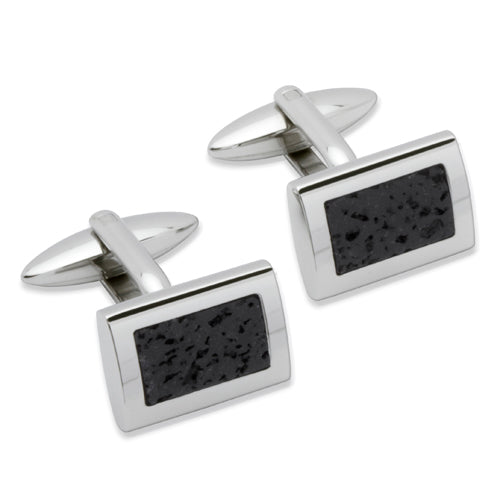 Lava Rock rectangular cufflinks in steel