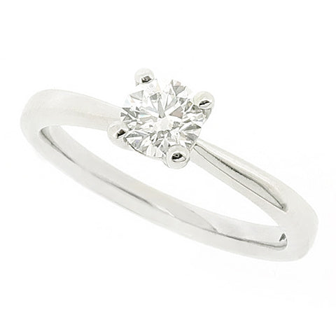 Round brilliant cut diamond solitaire ring in platinum, 0.60ct